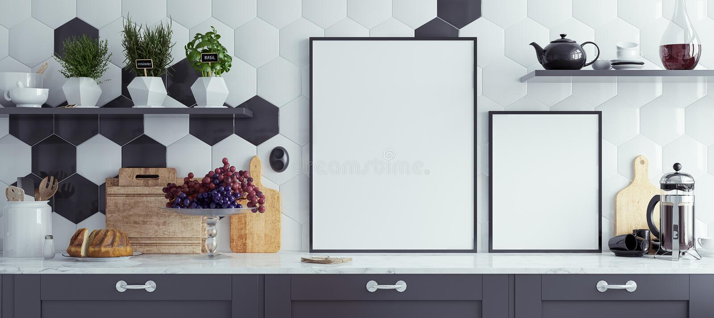 Åtlöje upp affischramar i kökinre, panorama- bakgrund royaltyfri illustrationer