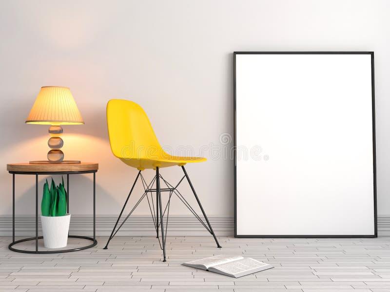 Åtlöje upp affischramar med stolbakgrund, illustration 3D stock illustrationer