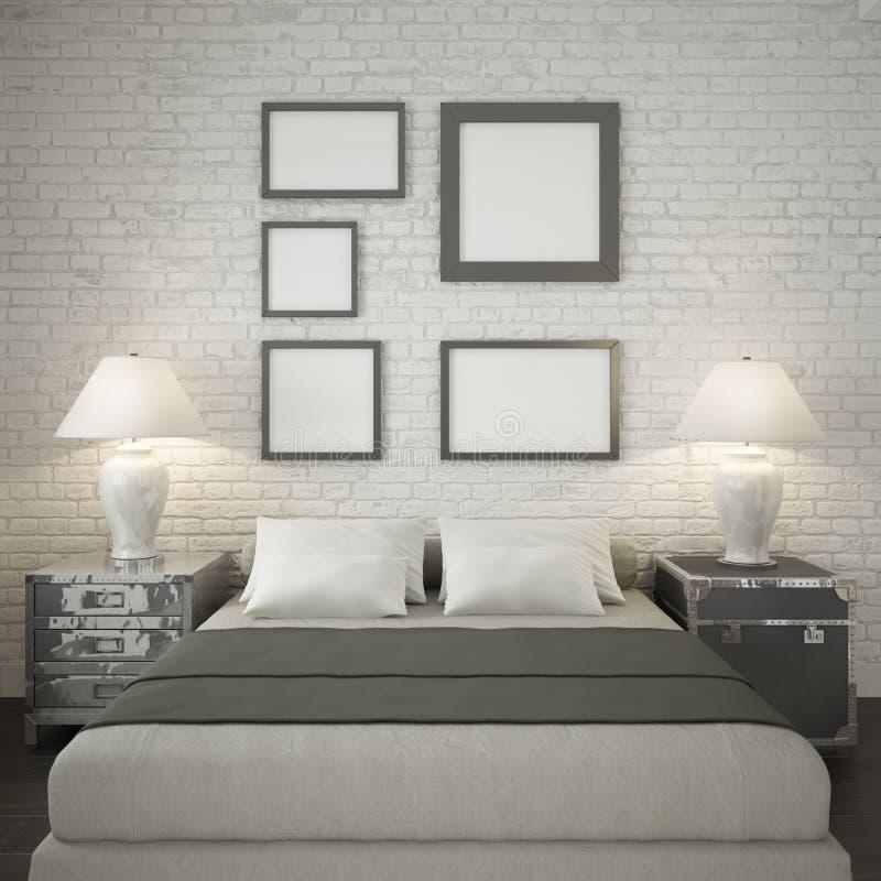 Åtlöje upp affischramar på den vita tegelstenväggen av sovrummet vektor illustrationer