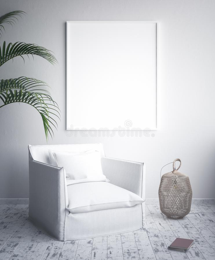 Åtlöje upp affischramen, inre minimalism, skandinavisk design vektor illustrationer