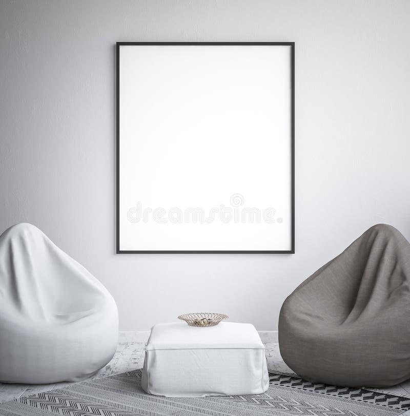 Åtlöje upp affischramen, inre minimalism, skandinavisk design royaltyfria foton