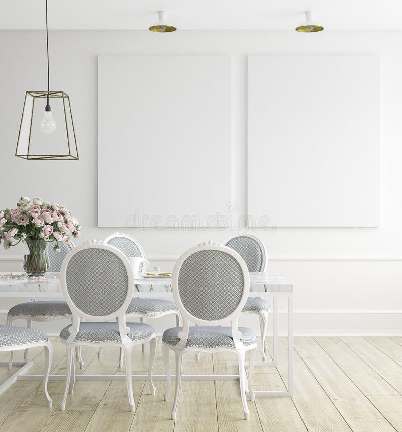 Åtlöje upp affischramen, matsal, skandinavisk stil royaltyfria foton