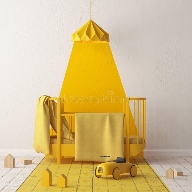 Åtlöje upp av ett sovrum för barn` s i en lokalt gul färg Skandinavisk stil framförande 3d royaltyfri illustrationer
