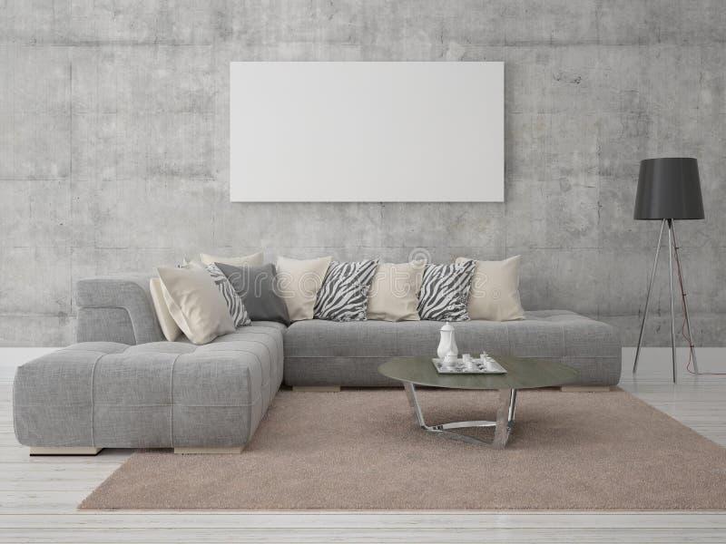 Åtlöje upp bekväm vardagsrum för affisch stock illustrationer