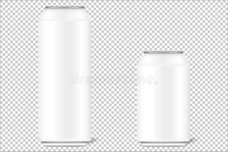 Åtlöje upp 3d på burk av 330 ml och 500 ml för öl, alkohol, läsk, kolsyrade drinkar, cola, energidrinkar med realistiska skuggor vektor illustrationer