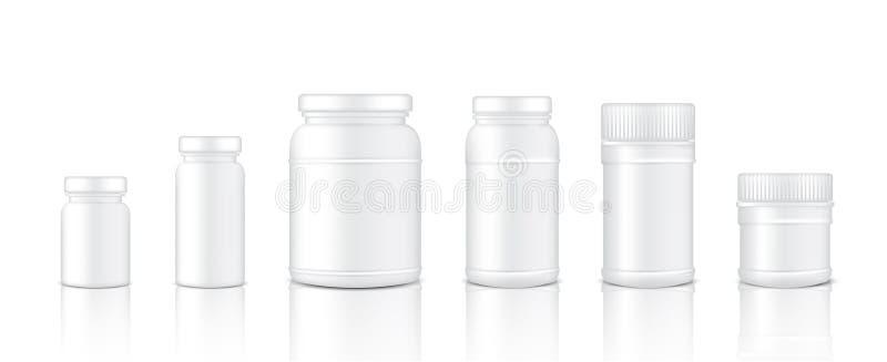 Åtlöje upp den realistiska plast- produktkruset för förpacka för protein- eller medicinflaska isolerade bakgrund vektor illustrationer