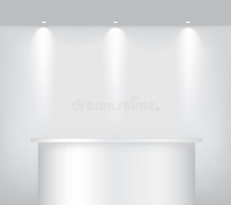 Åtlöje upp den realistiska tomma hyllan som bordlägger podiet för att inre ska visa produkten med strålkastare- och skuggabakgrun vektor illustrationer