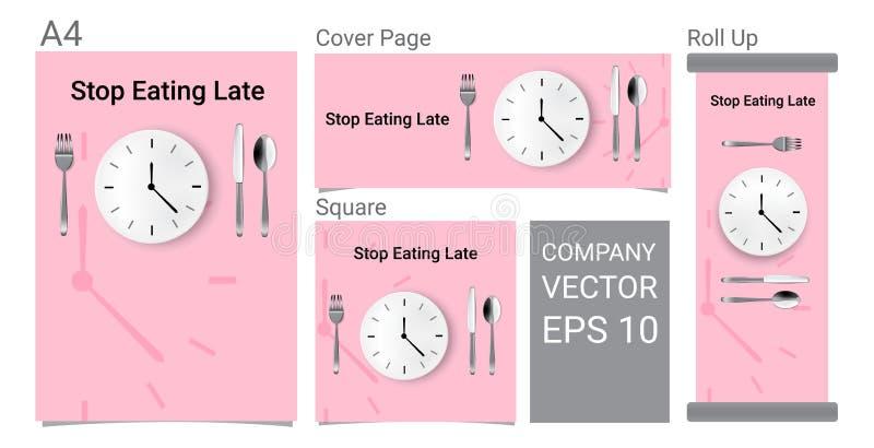 Åtlöje upp det realistiska annonserande banret Tid som ska ätas med klockan, vit platta eller maträtt, metallskedgaffel och kniv  royaltyfri illustrationer