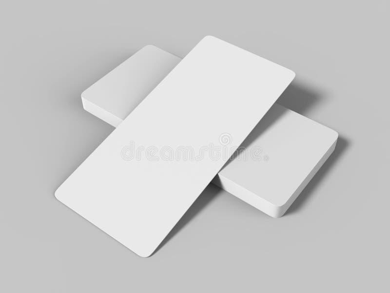 Åtlöje upp det vita mallmellanrumet tömmer det rundade hörnpresentkortkortet på den gråa bakgrunden För grafisk design eller pres royaltyfri illustrationer