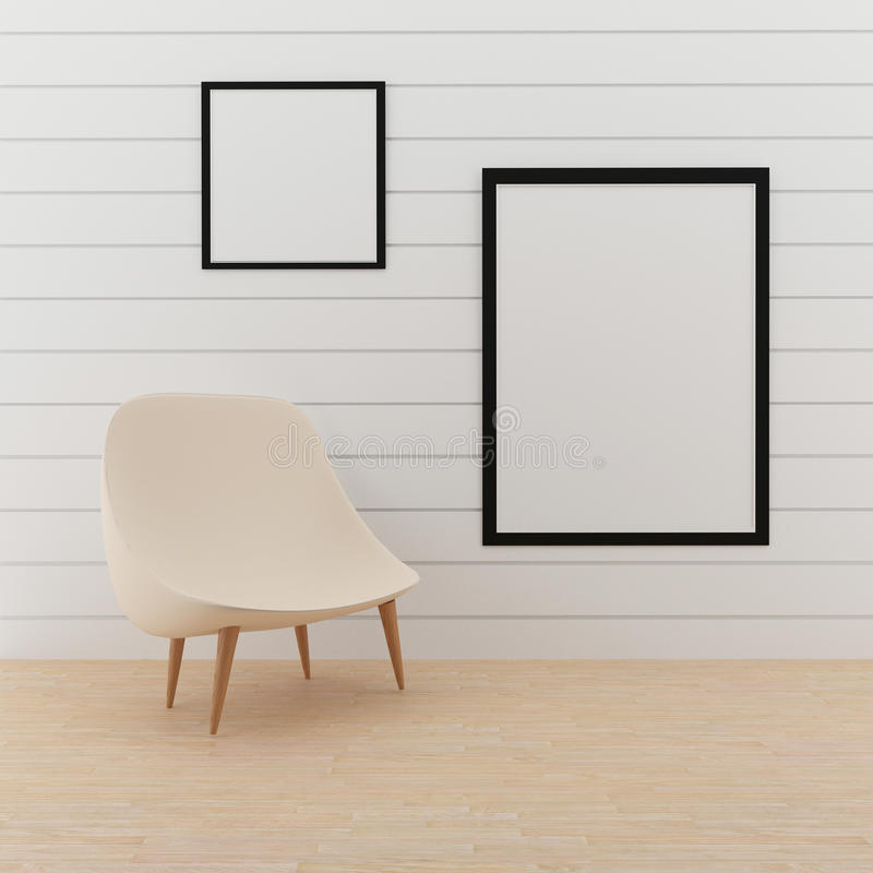 Åtlöje upp fotoram med liten stol i tolkningen 3D stock illustrationer