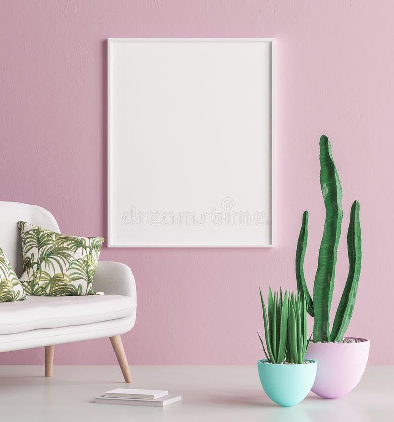 Åtlöje upp inre bakgrund för affischram med soffan och kaktuns royaltyfri illustrationer