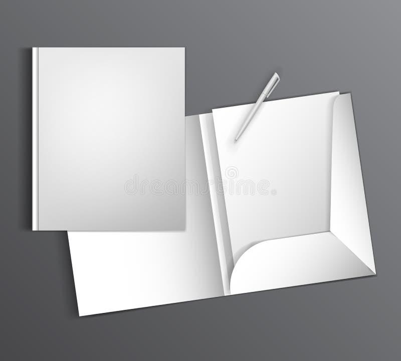 Åtlöje upp klar design för mall med en mapp- och pennmellanrumsbokstav stock illustrationer