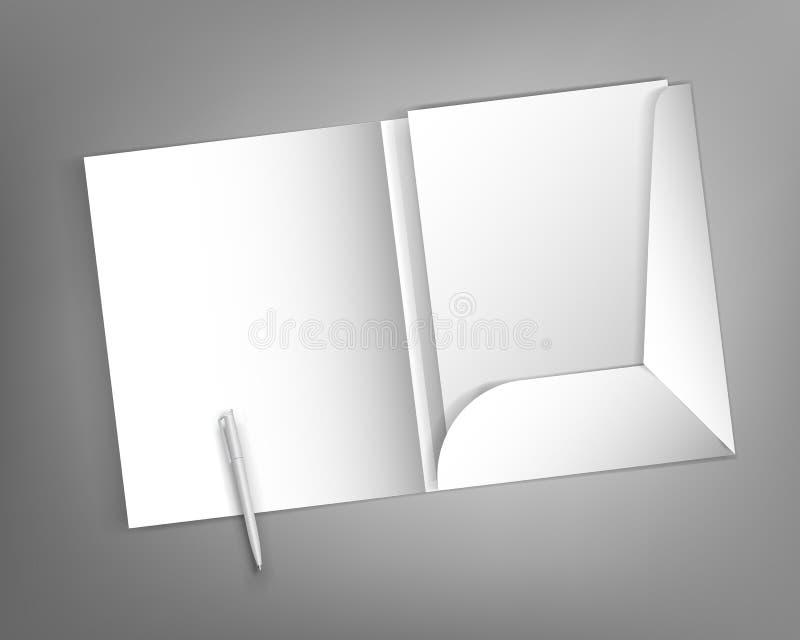 Åtlöje upp klar design för mall med en mapp- och pennmellanrumsbokstav vektor illustrationer