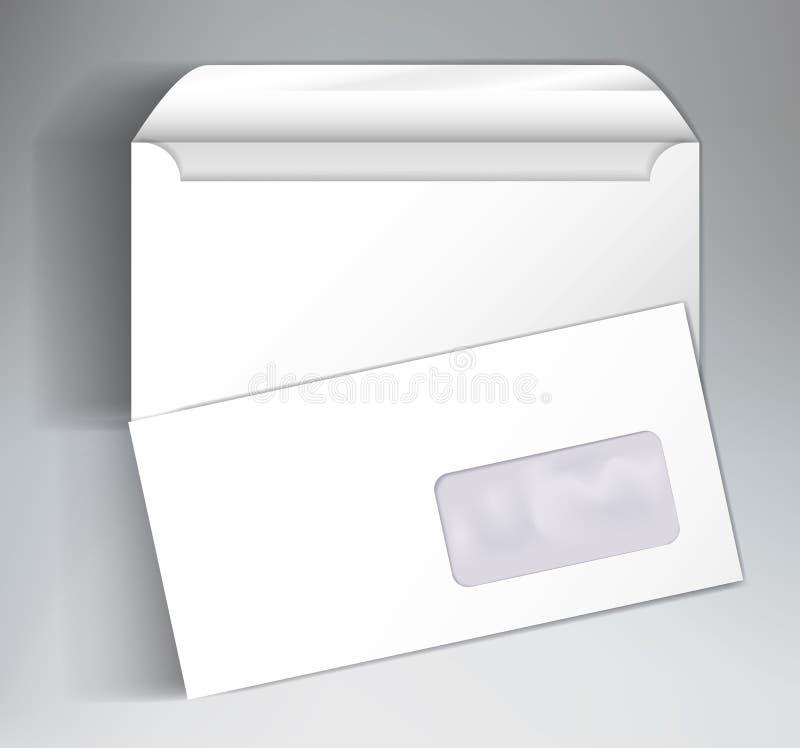 Åtlöje upp klar design för mall med kuvert stock illustrationer