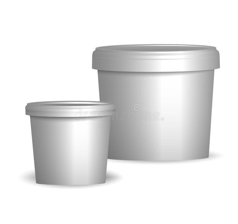 Åtlöje upp klar design för mall Vit plast- badar hinkbehållaren vektor illustrationer