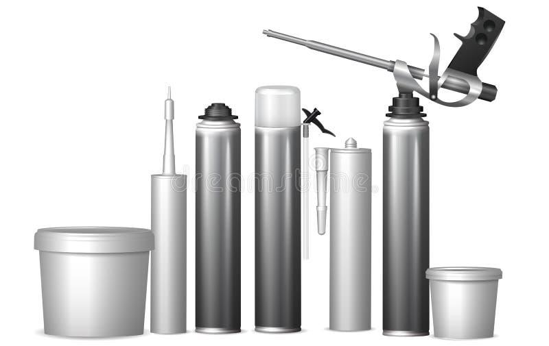 Åtlöje upp mallflaskor med byggnadsmaterial Vektor Illust vektor illustrationer