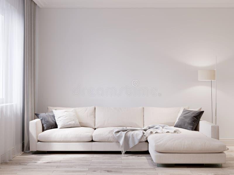 Åtlöje upp modern vardagsruminre för vit vägg royaltyfri illustrationer
