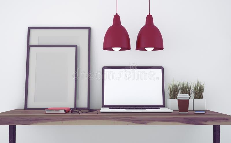 Åtlöje upp modernt kontor arkivbild