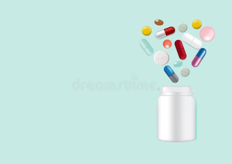 Åtlöje upp realistisk pillermedicinhjärta Shape med den förpackande produkten för vit glasflaska för medicinsk affär som isoleras stock illustrationer