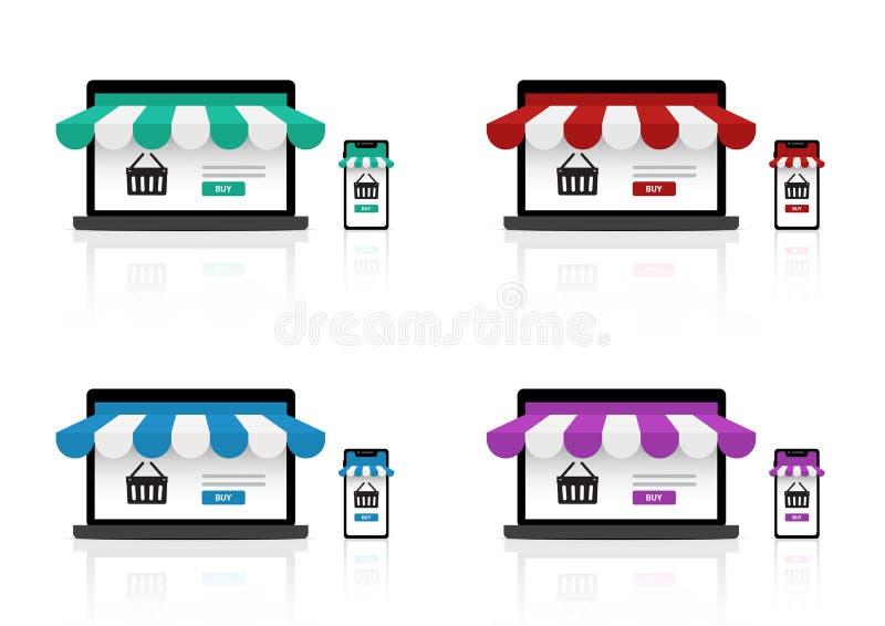 Åtlöje upp realistiskt online-shoppa lager på den Smartphone applikationen och bakgrund för produkt för bärbar datorWebsite till  stock illustrationer