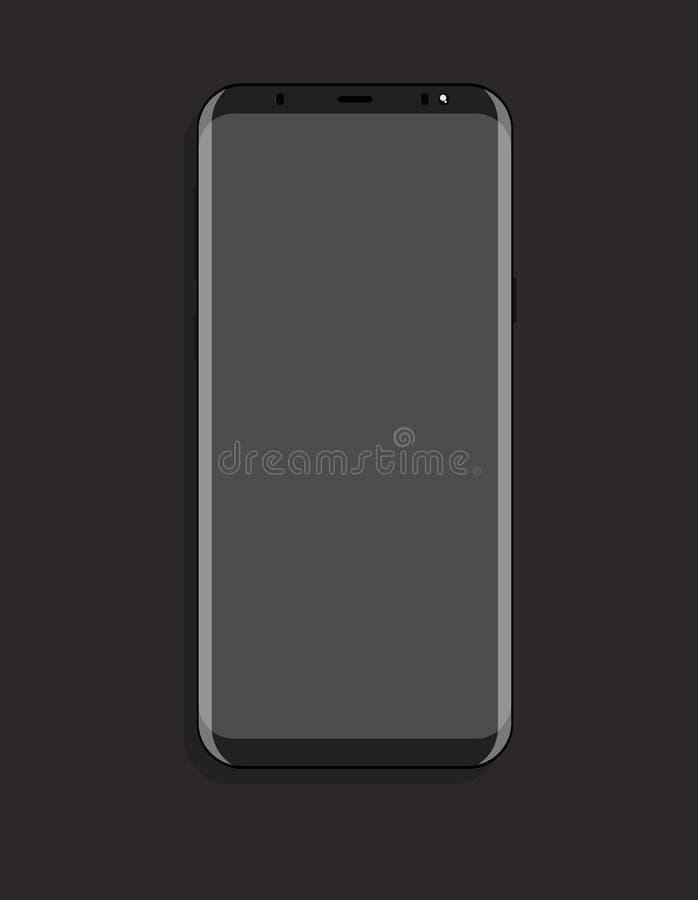 Åtlöje upp smartphonen med design för illustration för lägenhet för grå färgskärmvektor royaltyfri illustrationer