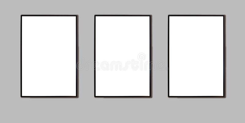 Åtlöje upp svart ram tre för bild vektor illustrationer