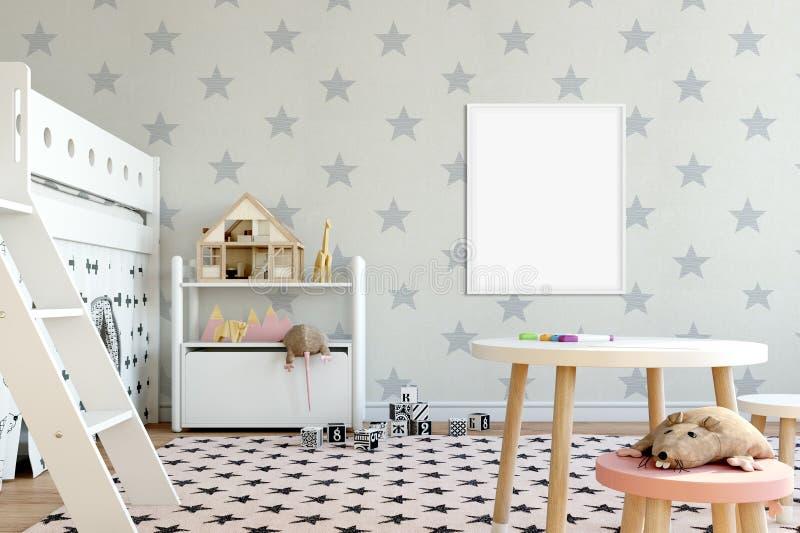 Åtlöje upp väggen i inre för barnrum Inre scandinavian stil 3D tolkning, illustration 3D arkivbilder