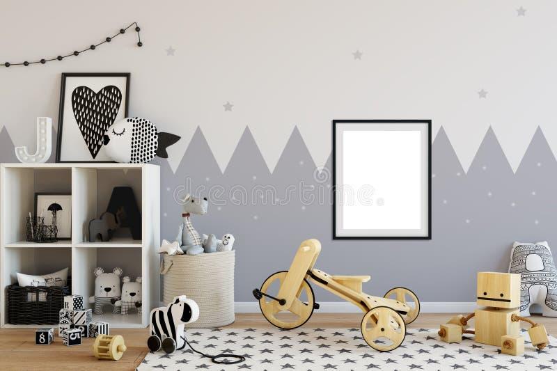 Åtlöje upp väggen i inre för barnrum Inre scandinavian stil 3D tolkning, illustration 3D arkivfoton