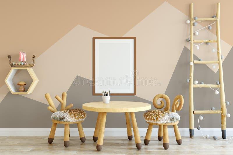 Åtlöje upp väggen i inre för barnrum Inre scandinavian stil 3D tolkning, illustration 3D royaltyfri fotografi