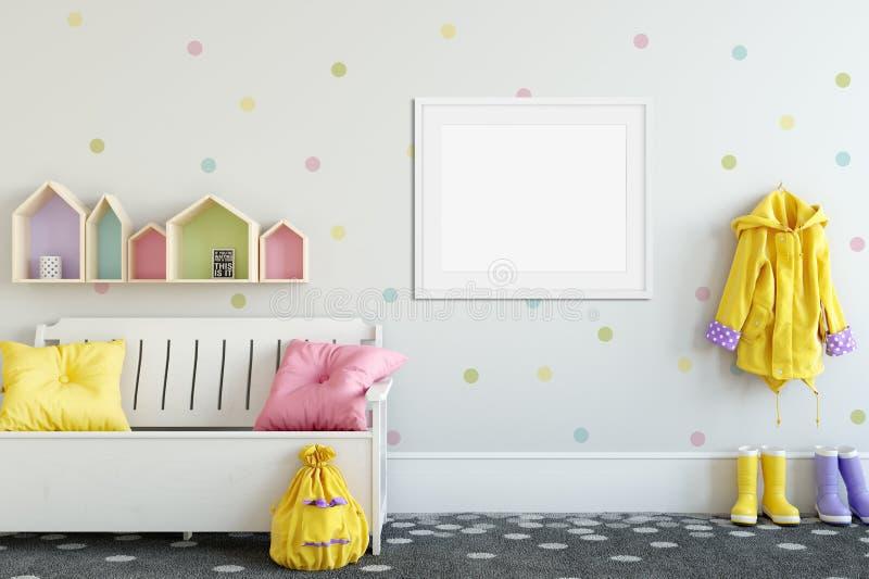 Åtlöje upp väggen i inre för barnrum Inre scandinavian stil 3D tolkning, illustration 3D arkivfoto