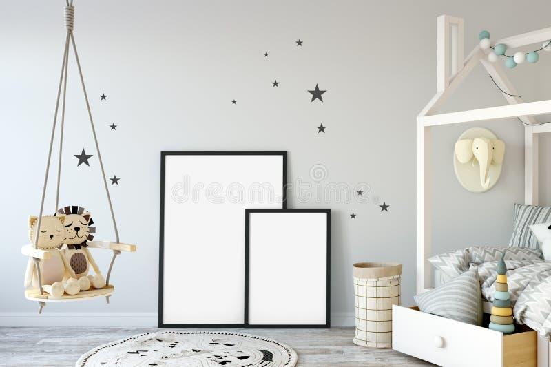 Åtlöje upp väggen i inre för barnrum Inre scandinavian stil 3D tolkning, illustration 3D royaltyfria bilder