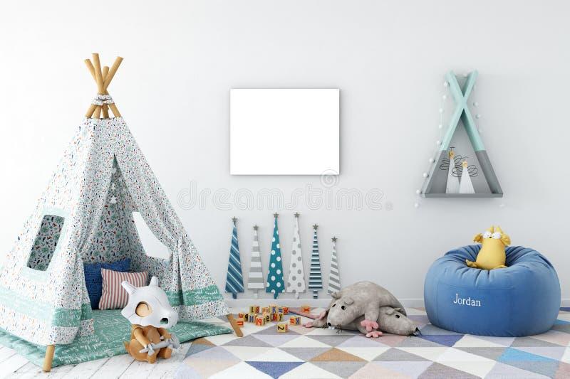 Åtlöje upp väggen i inre för barnrum Inre scandinavian stil 3D tolkning, illustration 3D royaltyfri foto