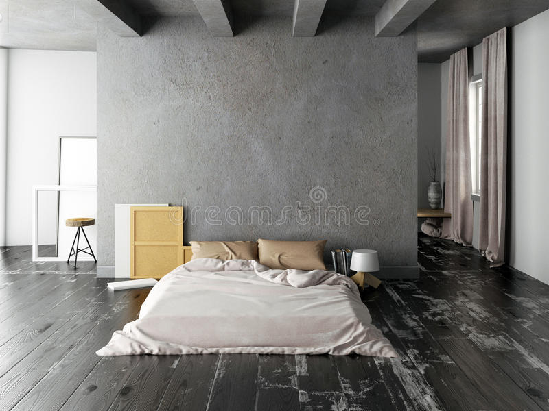 Åtlöje upp väggen i sovruminre Sovrumhipsterstil illu 3d royaltyfri illustrationer