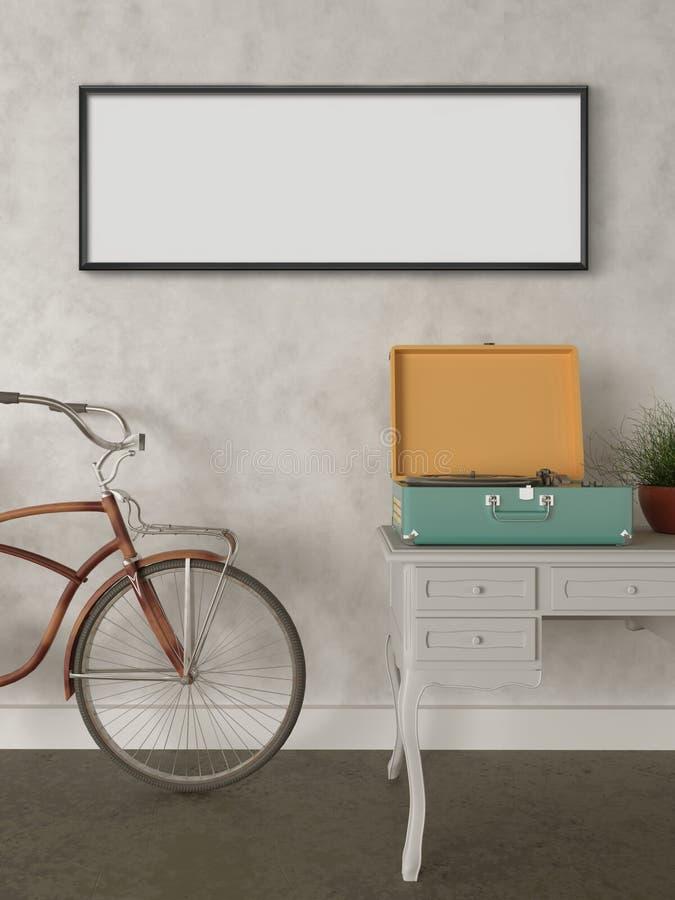 Åtlöje upp väggkonst, Retro hipstercykel i vardagsrum royaltyfri illustrationer