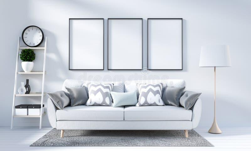 Åtlöje upp vit vardagsrum som är inre i scandinavian stil framf?rande 3d stock illustrationer