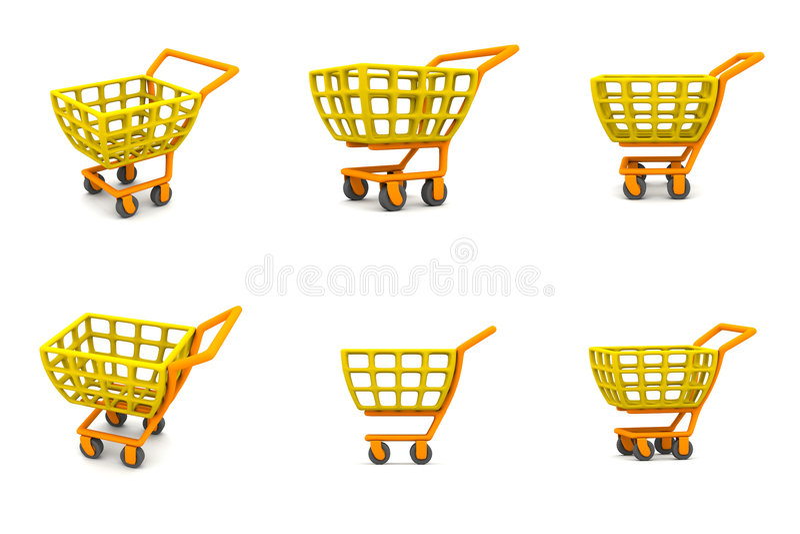 åtskillig shopping för vagn 3d royaltyfri illustrationer