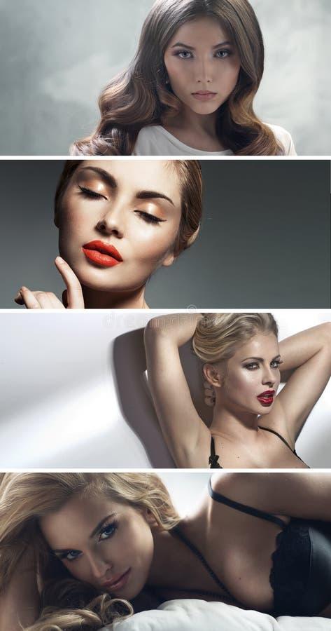 Åtskillig stående av fyra attraktiva damer royaltyfria foton