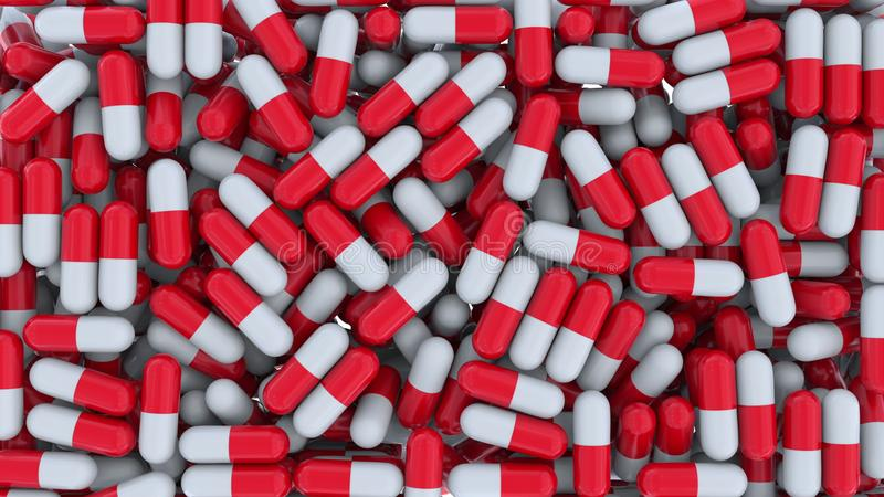 Åtskilliga drogkapslar eller preventivpillerar framförande 3d royaltyfri illustrationer