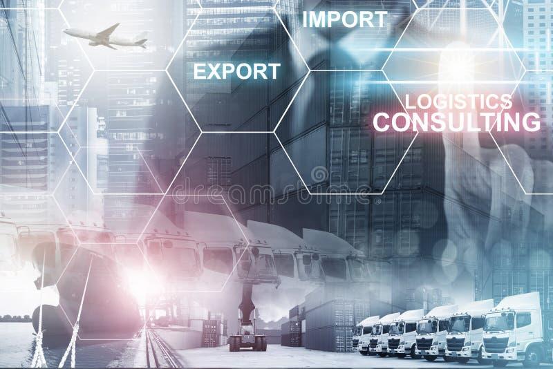 Åtskilliga exponeringar av affärssändnings, logistik, branschbakgrundsoverall arkivbild