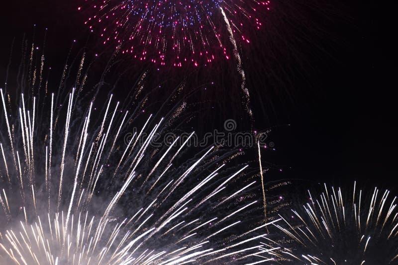 Åtskilliga fyrverkerier i natthimmel i en sammansättning i skuggor vit och rött royaltyfri foto