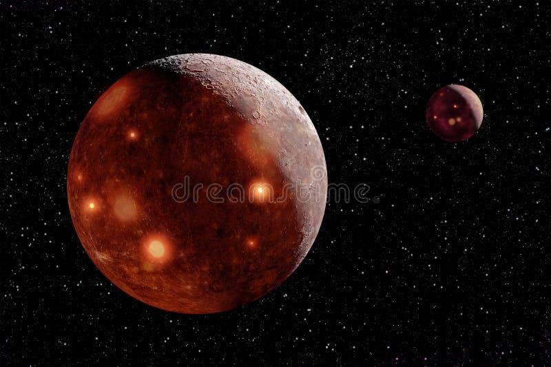 Åtskilliga varma satelliter i utrymme ovanför vulkanvärlden royaltyfri fotografi