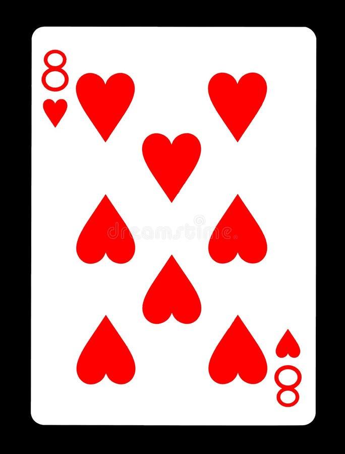 Åtta av hjärtor som spelar kortet royaltyfria bilder