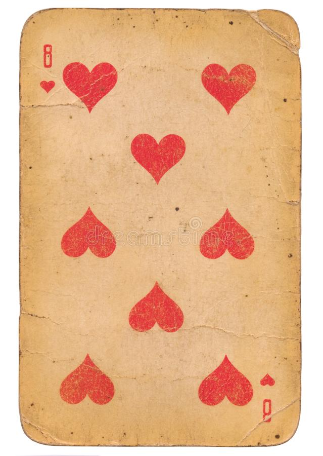 Åtta av kortet för gammal stil för grunge för hjärtor det spela sovjetisk fotografering för bildbyråer