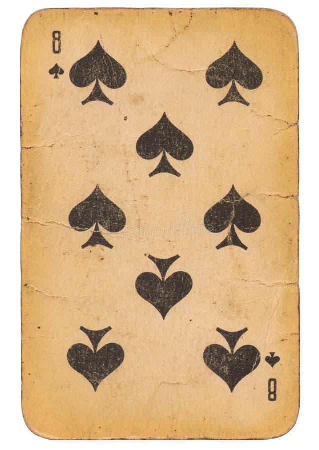 Åtta av kortet för gammal stil för grunge för spadar det spela sovjetisk arkivbilder