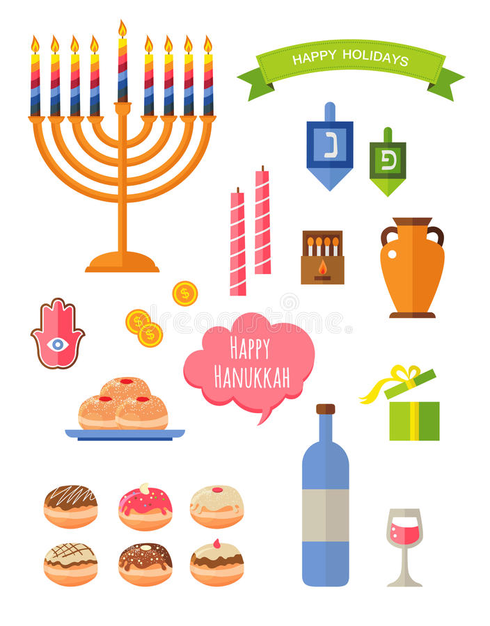 Åtta dagar av Chanukkah stock illustrationer