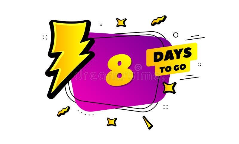 Åtta dagar lämnade symbolen 8 dagar som g?r vektor royaltyfri illustrationer