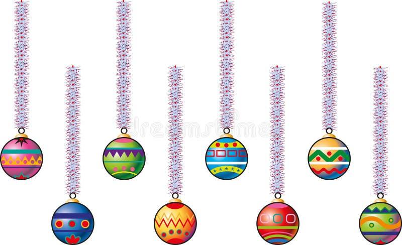 Åtta färgade julbollar stock illustrationer