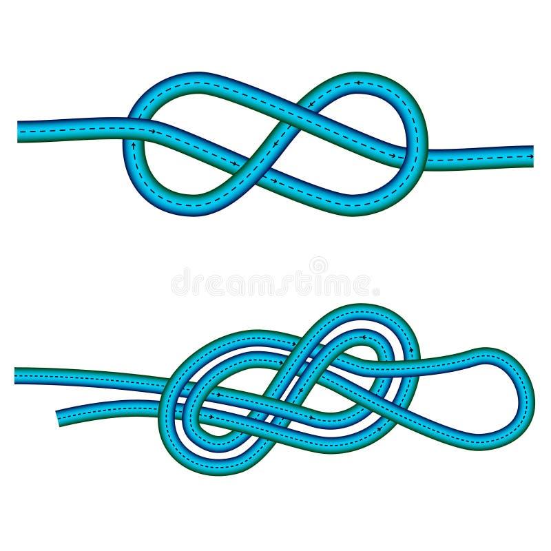 Åtta fnuren och dubblett 8 knyter anvisning mot vit bakgrund, vektorkonstillustration stock illustrationer