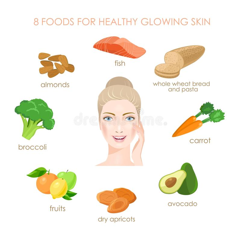 Åtta foods för sund hud Nya källor av vitamines vektor royaltyfri illustrationer