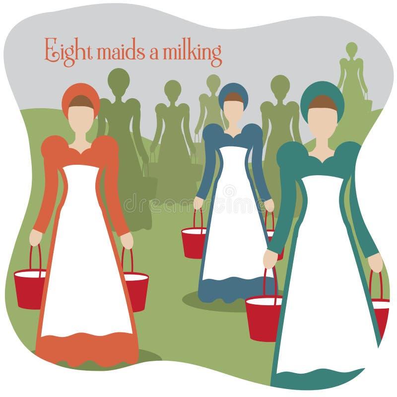 Åtta hembiträden mjölka tolv dagar av jul vektor illustrationer